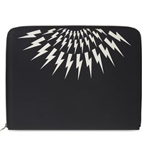 Neil Barrett Lightning Bolt Leather Document Holder Black White
