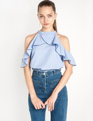 Pixie Market Ruffled Cut Out Shoulder Blue Top