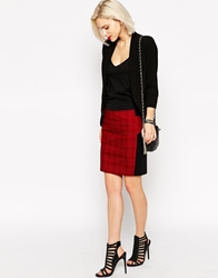 L.A.M.B. L.A.M.B Plaid Rib Mini Skirt Redblack