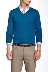 Ted Baker Bedmond Merino Wool Long Sleeve V Neck Sweater Blue