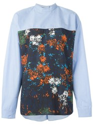 Cedric Charlier Floral Print Panel Shirt Blue