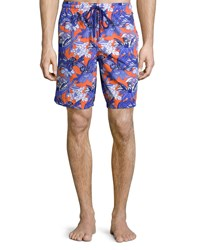 Vilebrequin Okoa Forest Paradise Printed Boardshorts Red Red Pattern