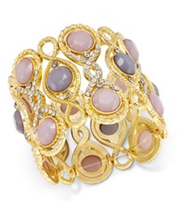 Inc International Concepts Gold Tone Pink And Gray Stone Filigree Stretch Bracelet Only At Macy's
