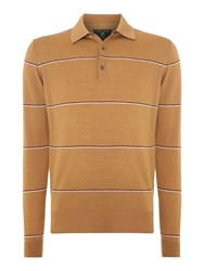 Peter Werth 1975 Merino Hooped Knitted Polo Shirt Tan