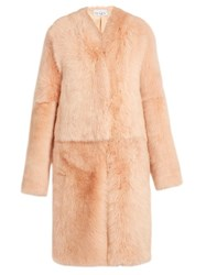 Raey Long Shearling Coat Nude