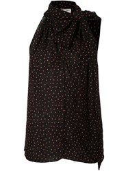 Saint Laurent Polka Dot Sleeveless Blouse Black