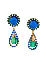Yves Saint Laurent Vintage Jewel Drop Clip On Earrings Blue