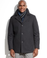 Perry Ellis Portfolio Big And Tall Wool Blend Coat With Scarf Charcoal