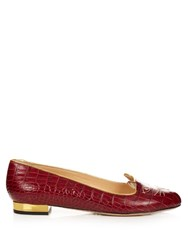 Charlotte Olympia Kitty Crocodile Effect Leather Flats Burgundy