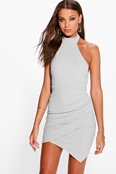 Boohoo High Neck Halter Wrap Skirt Bodycon Dress Grey