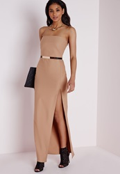 Missguided Beige Front Slit Bandeau Maxi Dress Beige