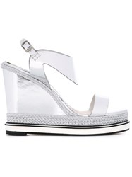 Nicholas Kirkwood 'Leda' Wedge Espadrille Sandals Metallic