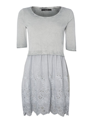 Oui Broderie Layer Dress Grey
