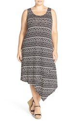 Sejour Plus Size Women's Asymmetrical Jersey Midi Dress Black Ivory Print