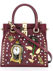Dolce And Gabbana Clock Flower Embellished Tote Pink Purple