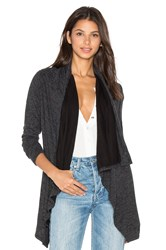 Bobi Fine Woolen Jersey Long Sleeve Wrap Cardigan Charcoal