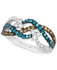 Le Vian White 1 3 Ct. T.W. Chocolate 1 4 Ct. T.W. And Blue 1 3 Ct. T.W. Diamond Woven Ring In 14K White Gold