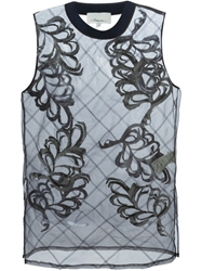 3.1 Phillip Lim Sheer Fern Embroidered Tank Top Black