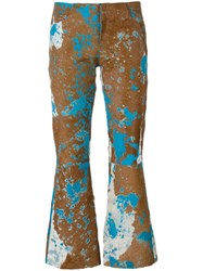 Marques Almeida Marques'almeida Printed Cropped Trousers Brown