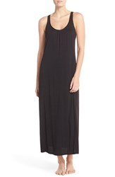 Women's Midnight By Carole Hochman Stripe Panel Nightgown Black