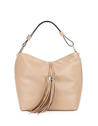 Karl Lagerfeld Tasseled Leather Hobo Bag Nude