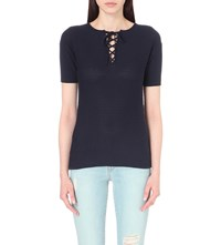 Frame Le Crochet Lace Up Top Navy