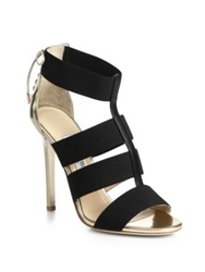 Jimmy Choo Dulsa Elastic Strap And Leather Lace Back Sandals Black Gold