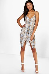 Boohoo Snake Print Wrap Bodycon Dress Multi