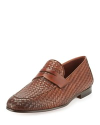 Magnanni Woven Leather Penny Loafer Light Brown