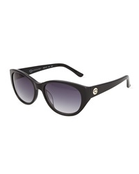O By Oscar De La Renta Retro Rounded Cat Eye Plastic Sunglasses Black