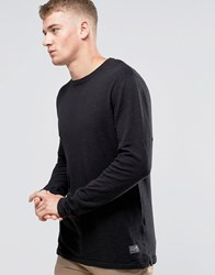 Jack And Jones Melange Slub Knitted Crew Neck Black