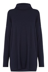 Warehouse Relaxed Side Split Polo Tunic Navy