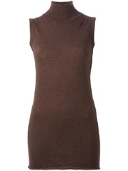 Rick Owens Lilies Roll Neck Tank Top Brown