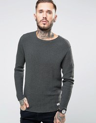 Only And Sons Ribbed Knitted Jumper Grey Green