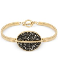 Kenneth Cole New York Gold Tone Sprinkle Stone Disc Toggle Bracelet Black
