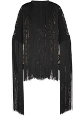 Elie Saab Fringed Lace And Crepe Top Black