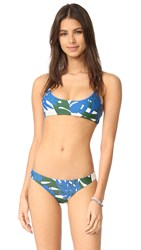 Mikoh Hermosa Basic Scoop Bikini Top Vintage Tahiti Forest
