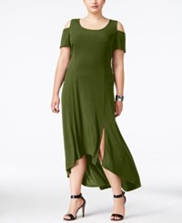 Ny Collection Plus Size Cold Shoulder Maxi Dress Army Olive
