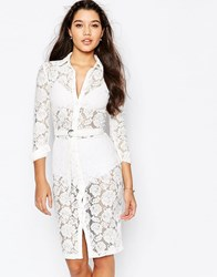 Missguided Lace Button Up Midi Shirt Dress Cream