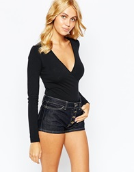 American Apparel Sexy Plunge Neck Long Sleeve Leotard Black