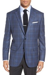 Peter Millar Men's Big And Tall 'Flynn' Classic Fit Plaid Wool Sport Coat Medium Blue