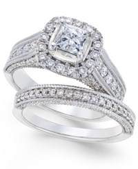 Macy's Diamond Princess Bridal Set 2 Ct. T.W. In 14K White Gold