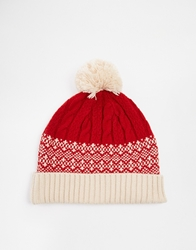 Asos Christmas Bobble Beanie Hat Red