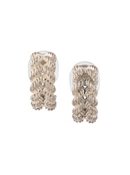 Herma S Vintage Torsade Clip On Earrings Metallic