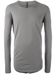 Attachment Long Sleeved Curve T Shirt Grey
