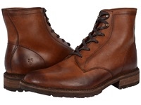 Frye James Lug Lace Up Cognac Smooth Full Grain Men's Lace Up Boots Red