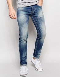 United Colors Of Benetton Skinny Fit Jeans With Rubbing Blue