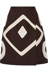 Moschino Cheap And Chic Appliqued Cotton Skirt Brown