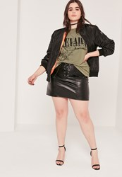 Missguided Plus Size Lace Up Faux Leather Mini Skirt Black