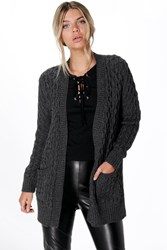 Leah Marl Cable Cardigan With Pocket